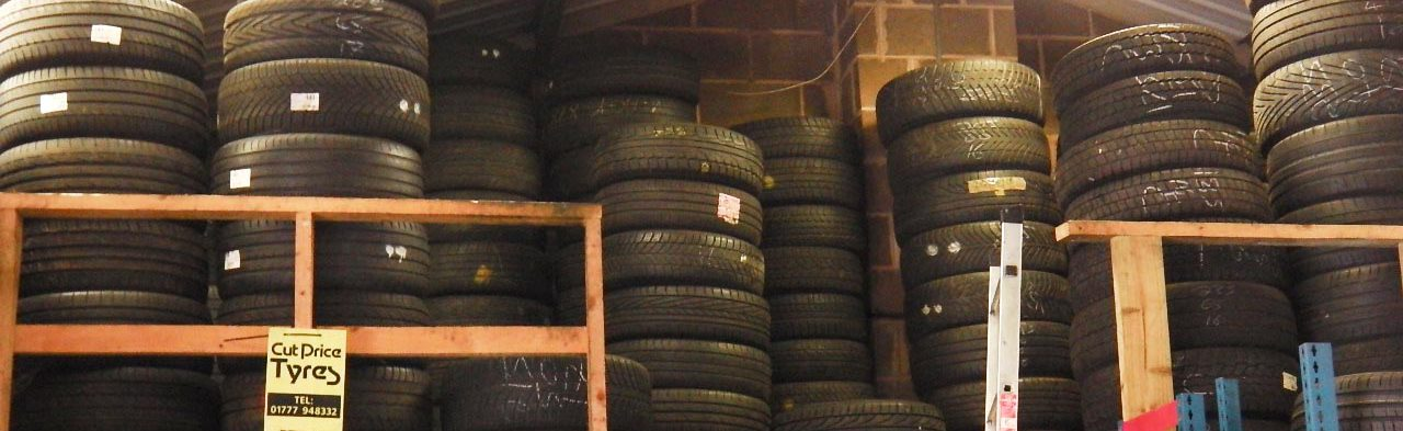 Stacks of tyres stored at the workshop