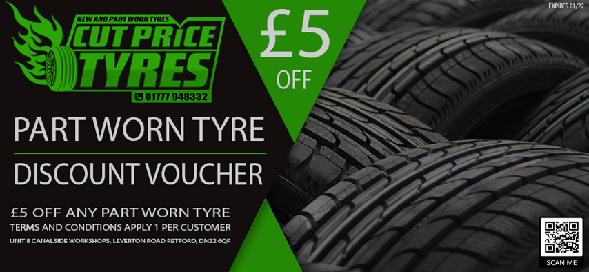 save £5 on any part worn tyre