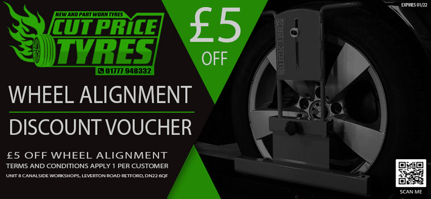 £5 OFF TRACKING / WHEEL ALIGNMENT